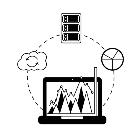 business laptop chart report cloud computing database Иллюстрация