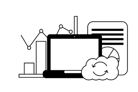 laptop cloud computing reload chart finance document vector illustration