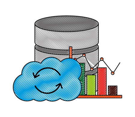 cloud computing database center statistics chart Иллюстрация