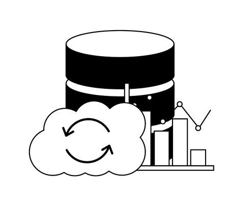 cloud computing database center statistics chart vector illustration Иллюстрация