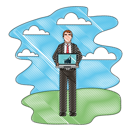businessman with laptop report chart business vector illustration