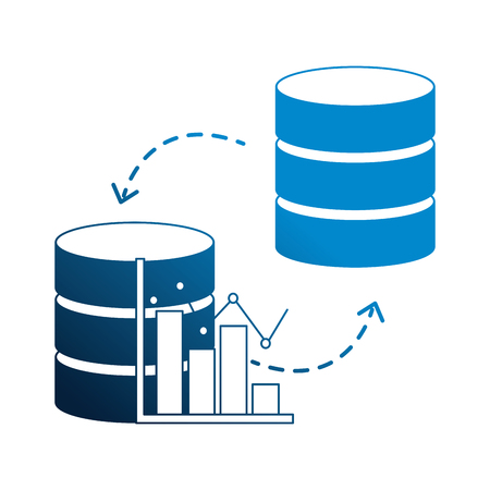 database center statistics graph transfer data vector illustration