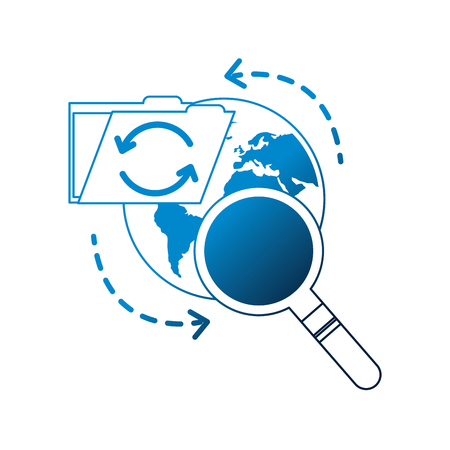 Carpeta de recarga mundial búsqueda de datos de archivo ilustración vectorial neón