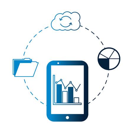 smartphone statistics report cloud storage folder vector illustration neon Иллюстрация