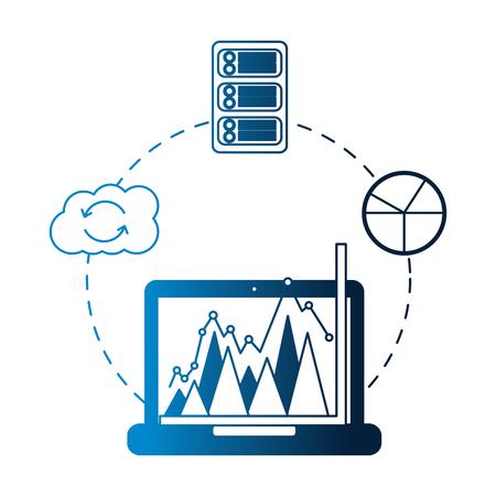 business laptop chart report cloud computing database vector illustration neon