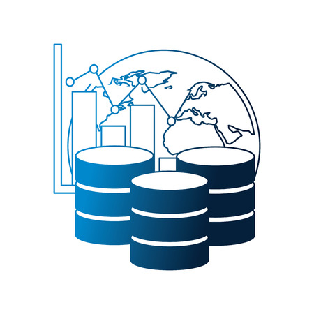 database center storage world graph financial vector illustration neon