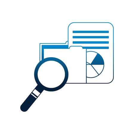 business folder data information magnifying glass vector illustration neon