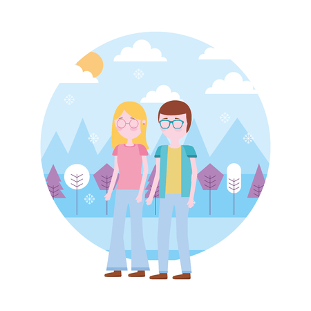 couple standing together in the outdoors vector illustration