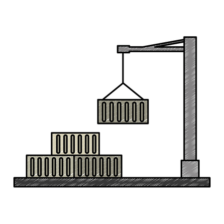 crane with containers logistic icons vector illustration design