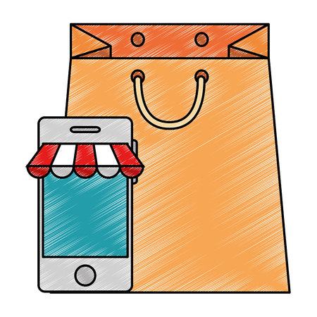 smartphone with parasol and shopping bag vector illustration design 向量圖像