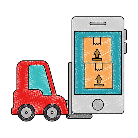forklift vehicle with smartphone and boxes vector illustration design Foto de archivo - 110176332