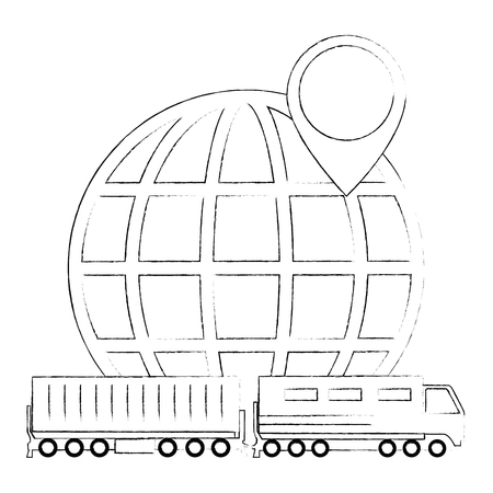 cargo train with planet logistic service vector illustration design Illustration