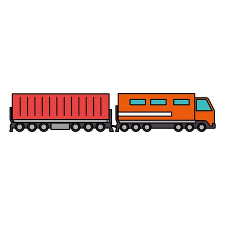 Servicio logístico de trenes de carga, diseño de ilustraciones vectoriales