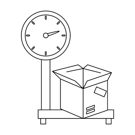 scale measure weight with box delivery service vector illustration