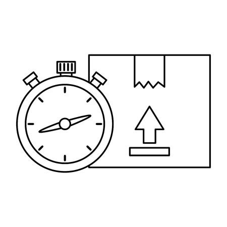box carton with chronometer vector illustration design