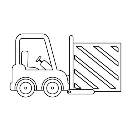 forklift vehicle with box vector illustration design Foto de archivo - 110176376