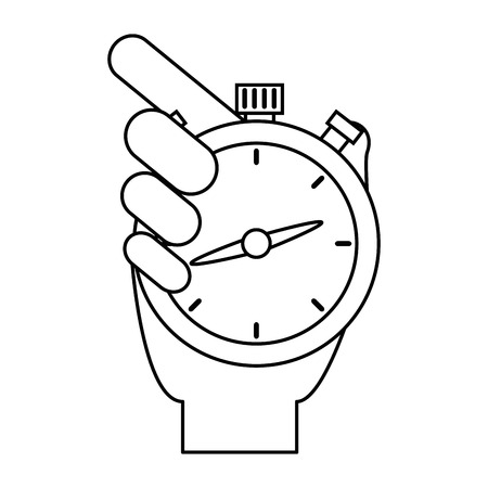 hand with chronometer timer vector illustration design