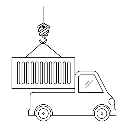 truck with crane hook and container vector illustration design Banco de Imagens - 110176381