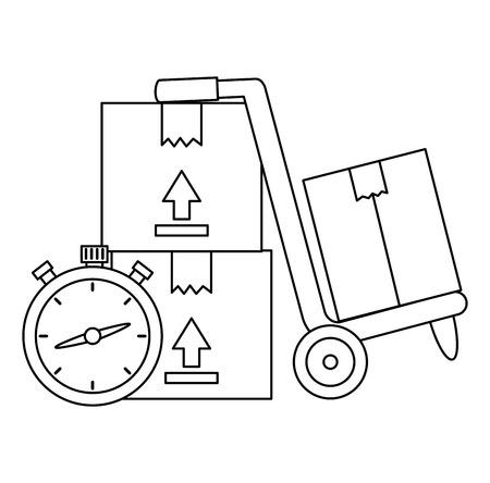 boxes carton with chronometer vector illustration design