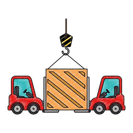 wooden box with crane hook and forklift vector illustration design