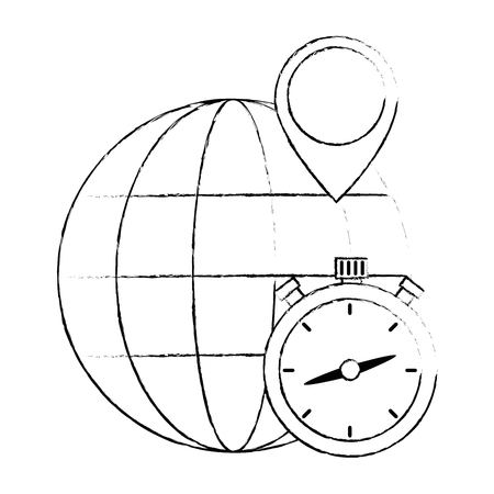 chronometer timer with planet vector illustration design Illustration