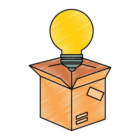 packing box carton with bulb vector illustration design Çizim
