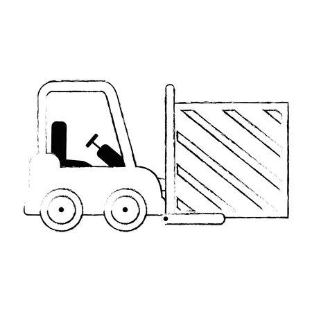 forklift vehicle with box vector illustration design