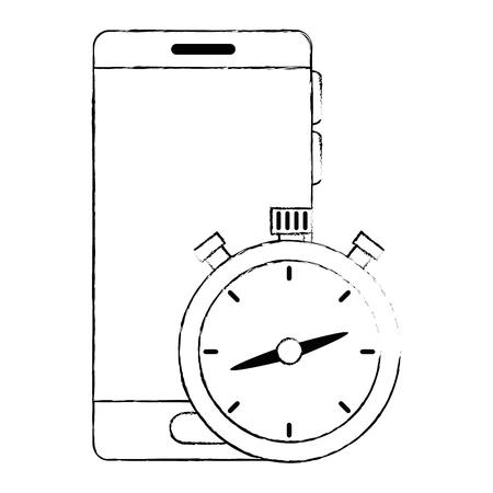 chronometer timer with smartphone vector illustration design