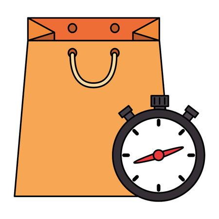 shopping bag with chronometer vector illustration design Illustration