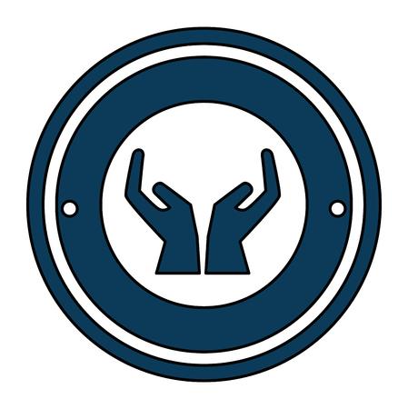 hands human protection seal stamp vector illustration design
