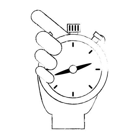 hand with chronometer timer vector illustration design