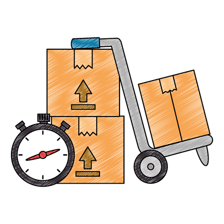 cart with boxes and chronometer delivery service vector illustration