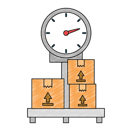 scale measure weight with boxes delivery service vector illustration