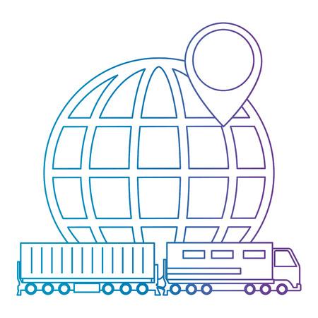 cargo train with planet logistic service vector illustration design Illusztráció
