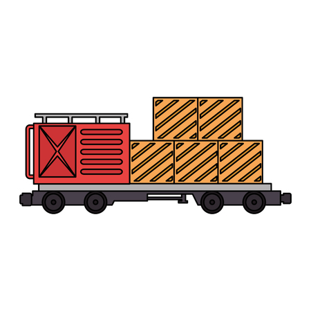 freight train wagon with containers logistic service vector illustration