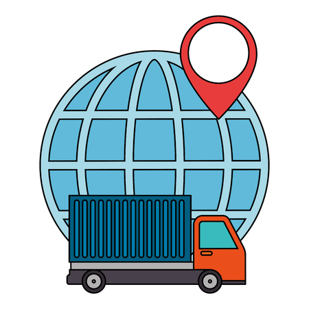 sphere planet with truck vector illustration design
