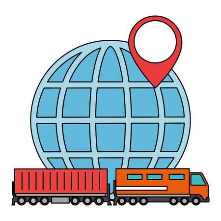 cargo train with planet logistic service vector illustration design  イラスト・ベクター素材