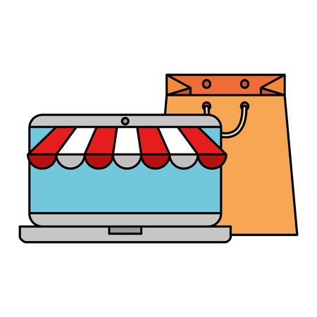 laptop with parasol and shopping bag vector illustration design