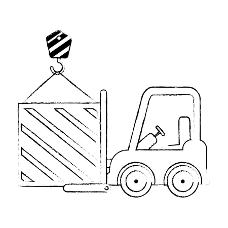 wooden box with crane hook and forklift vector illustration design
