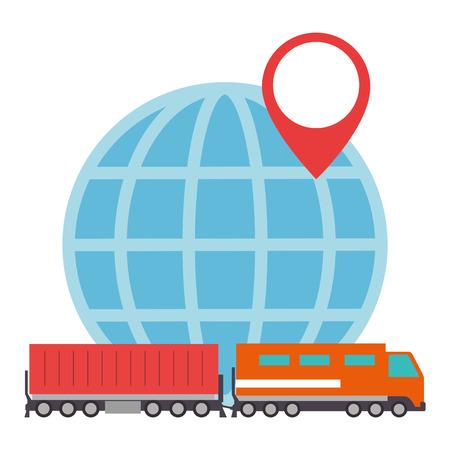 cargo train with planet logistic service vector illustration design Illustration