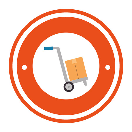 cart with boxes stamp delivery service vector illustration design