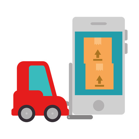 forklift vehicle with smartphone and boxes vector illustration design Foto de archivo - 107994120