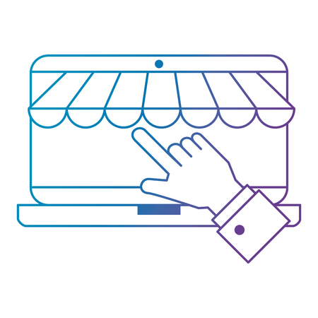 hand using laptop with parasol vector illustration design