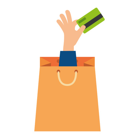 shopping bag with hand and credit card vector illustration design