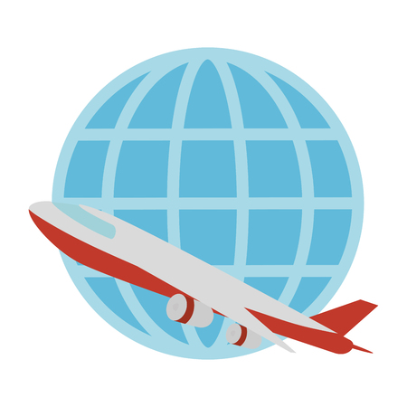 airplane flying with sphere planet vector illustration design