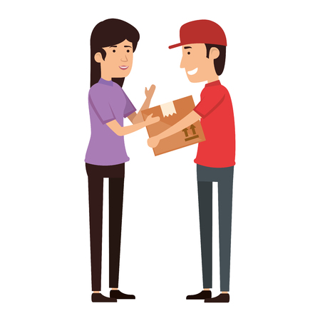 delivery worker lifting box and receiving woman vector illustration