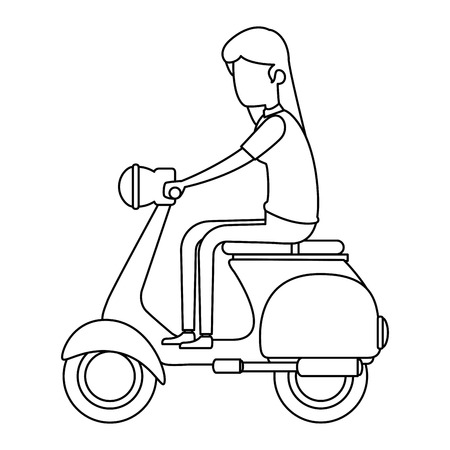 vrouw rijden scooter motorfiets vector illustratie ontwerp