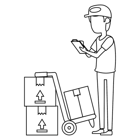 delivery worker with boxes and checklist vector illustration design