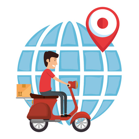 delivery worker in motorcycle and planet vector illustration design Ilustración de vector