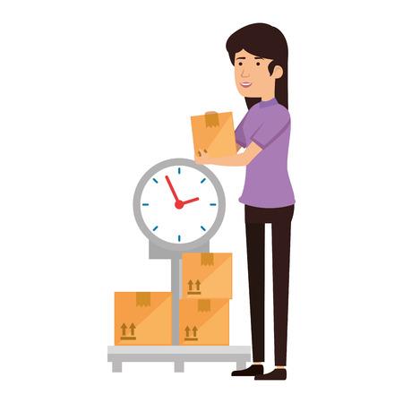 woman receiving merchandise with boxes and balance vector design Ilustración de vector